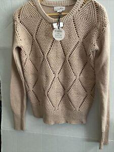SHRINKING VIOLET Junior Top Soft Pink Cotton Blend Argyle Knit Sweater size M