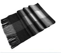 Superbe echarpe homme/femme à carreaux Gris/noir 166 X31 cm