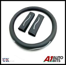 UNIVERSAL BLACK CAR VAN STEERING WHEEL COVER WITH SEAT BELT PADS GLOVE SLEEVE N7