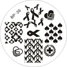 Red Ribbon Design Nail Art Stamping Template Image Plate BP26