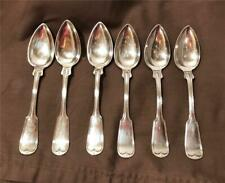 6 Antique Coin Silver Teaspoons 1850s Threaded Pattern 156.5 Grams