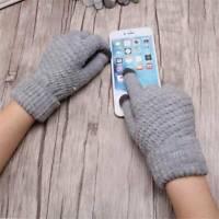 1 Pair Women Men Wool Knitted Gloves Full Finger Warm Mittens Touch Screen Retro