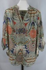 Room Mates Womens Plus Beige Multi Color Sheer Roll Sleeve Top Blouse Size 3X