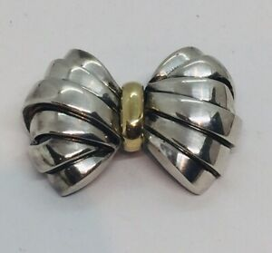 Tiffany & Co. Vintage Authentic Sterling Silver & 18k Yellow Gold Bow Pin