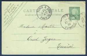 TUNISIA Postal Card Carte Postale Tunis Souk el Arba Domestic Mail 1909