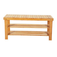 3 Tiers Bamboo Stool Shoe Rack Wood Color
