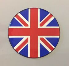 50mm Dia UNION JACK FLAG Sticker/Decal - RED, CHROME & BLUE - GLOSS DOMED GEL