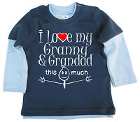 """Baby Skater Top """"I Love My Granny & Grandad this Much"""" Long Sleeved Tee"""