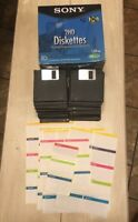 """Sony 2HD Diskettes 1.44MB 3.5"""" Double Sided Floppy Partial 43 Pack E4 With Label"""
