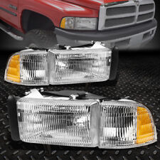 FOR 1994-2002 DODGE RAM PICKUP OE STYLE CHROME HOUSING HEADLIGHT+CORNER LAMPS
