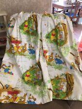 "Winnie The Pooh & Friends Pleated Curtain Panel Pair Sears Roebuck VTG 25"" x 44"""