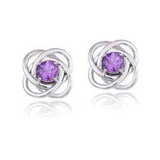 925 Silver 3/4ct Amethyst Love Knot Stud Earrings