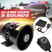 400W DC 12V 9 Sound Loud Car Warning Alarm Police Fire Horn Speaker System + Mic