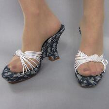 Christian Dior Women's Shoes Mules Denim Jacquard Monogram Logo Charm 36.5/6.5