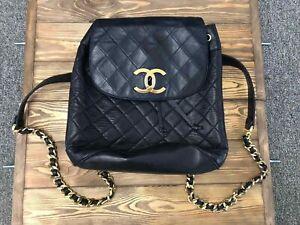 Vintage Chanel woman backpack bag leather blue colour big size L