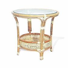 Coffee Pelangi Table with Glass Top  Wicker Rattan Color White Wash