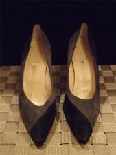 Manolo Blahnik Grey Blue Suede Hign Heel Pumps Sz 37 7 Store Display BB