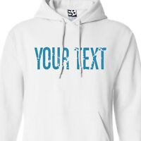 Custom Distressed Thin Block HOODIE Personalized Grunge Text Font Sweatshirt