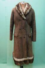 Traumhafter Lamm Fell Mantel braun ca 44/L Leder vintage shearling tailiert