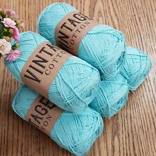 COTTON DOUBLE KNITTING WOOL / YARN 5 x 100g VINTAGE COTTON  blue