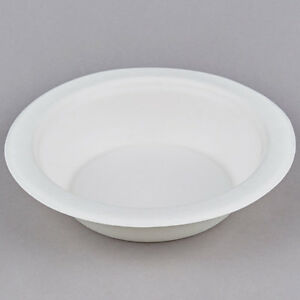 125 x 12oz White Bagasse Sugarcane Bowls - Fully Biodegradable and Compostable