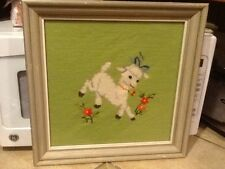 Professionally Framed Needlepoint-Vintage White Lamb-French Country/Cottage-
