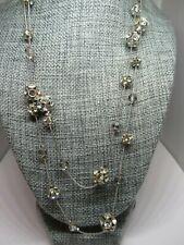 Costume Jewelry Womens Necklace double strand rhinestone ball silver tone