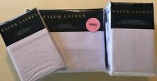 $500 Ralph Lauren 4pc Luxury Oxford King Fitted Flat and Pillowcase Set Lavender