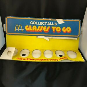 """1977 McDonald's Collector's Series """"Collect All 6"""" """"Glasses To Go"""" Cup Display"""
