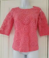 Womens Boden Pink Embroidered Netted Button Back 3/4 Sleeve Blouse Top 10 Vgc.