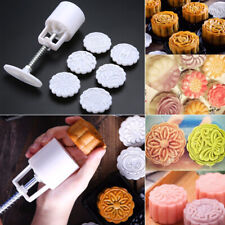 DIY 50g Round Mooncake Mould Flower Leaf Moon Cake Decor Baking Tool W/ 6 Stamp