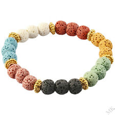 7 Chakra Lava Rock Beads Bracelet Healing Stone Bangle Wristband Jewelry 8mm