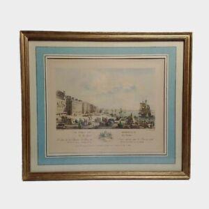 Ancienne gravure « Le port de Bordeaux, vu du quai des farines », Ozanne.
