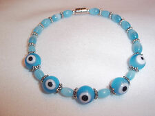 7 in LT BLUE Glass EVIL EYE and Glass Bead Bracelet with MAGNETIC Clasp E-71