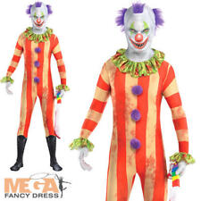 Mens Scary Clown Party Suit Halloween Second Skin Fancy Dress Morphsuit Costume Size Large L