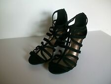 Black Suede Leather Stappy Shoes, Size 7.5 Wider Fit, Marks & Spencer, BNWT