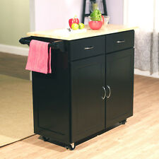 Black Kitchen Island Cart Natural Top Home Living Dining Room Storage Furniture