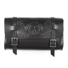 Genuine Leather Black Motorcycle Tool Bag - American Made - Skull & Wings