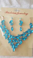 Turquoise color Diamante Flower crystal Necklace &earrings set Gold color chain