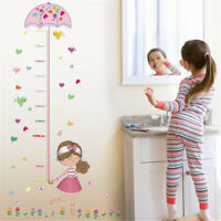 girl umbrella measure height wall stickers pvc mural kids room deco GT