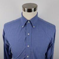 Brooks Brothers Basics Mens Cotton LS Button Down Solid Blue Dress Shirt 15.5-35