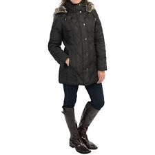 London Fog women's Quilted Down Coat - Faux-Fur Collar Trim small 4-6 Black NWT