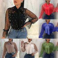 Ladies Women Autumn Mesh Sheer Long Sleeve Casual T Shirt Tops Blouse SIZE 6-14