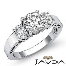 Prong Set Round Diamond Engagement 3 Stone Ring GIA F SI1 14k White Gold 1.95ct