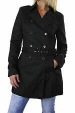 NEW (5109-1) Casual Fully Lined Trench Coat Mac Belt Double Breasted Black 8-18