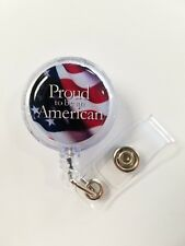 Proud to be an American. US Flag. Retractable Badge Name Tag ID Holder 3D