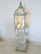Antique Glass Metal Candle Lantern Shelving Bookcase Display Cabinet Tall Unit