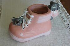 Magnifique Déco Godillot Rose en Céramique avec petites souris