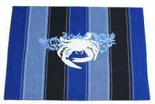 """New listing 20""""L Crab Placemat with Blue Stripes Nautical Kitchen Bar Decor Beach"""