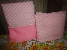 Cannon Pink White Gingham 2pc Twin Sheet Set Percale Cotton Blend